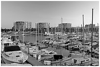 Yachts and appartment buildings at sunrise. Marina Del Rey, Los Angeles, California, USA ( black and white)