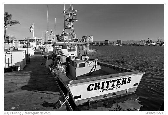 Fishing boat and deck. Marina Del Rey, Los Angeles, California, USA (black and white)