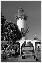 Fishermans village sign and lighthouse. Marina Del Rey, Los Angeles, California, USA (black and white)
