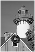 Lighthouse, Fishermans village. Marina Del Rey, Los Angeles, California, USA (black and white)