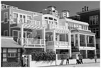 Row of colorful beach houses. Santa Monica, Los Angeles, California, USA ( black and white)