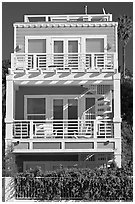 Colorful beach house. Santa Monica, Los Angeles, California, USA ( black and white)