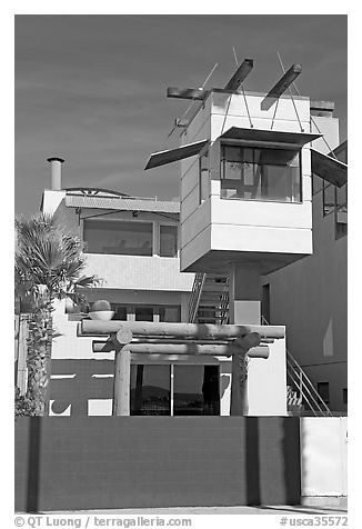Beach house with lookout tower. Venice, Los Angeles, California, USA (black and white)
