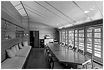 Dining room, Hanna House, a Frank Lloyd Wright masterpiece. Stanford University, California, USA (black and white)