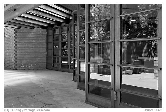Windows outside the Library, Hanna House, designed by Frank Lloyd Wright. Stanford University, California, USA (black and white)