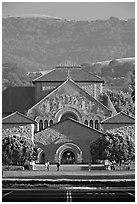 Memorial Church and foothills, late afternoon. Stanford University, California, USA (black and white)