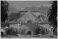 Memorial Church and main Quad, late afternoon. Stanford University, California, USA (black and white)