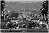 Memorial Church, main Quad, and foothills. Stanford University, California, USA (black and white)