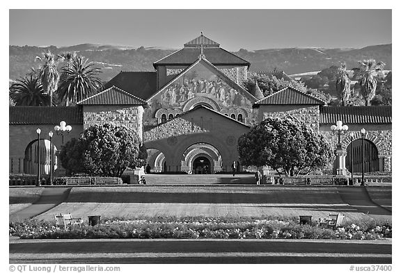 Lawn, main Quad, and Memorial Chapel. Stanford University, California, USA (black and white)