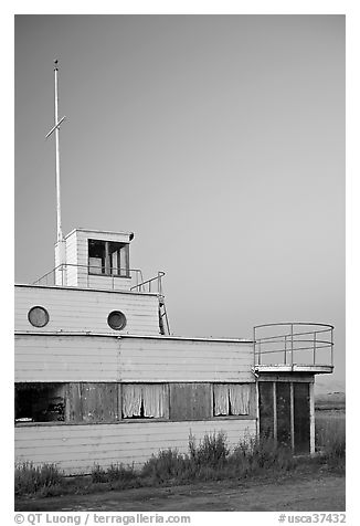 Old Yacht club, Palo Alto Baylands, dusk. Palo Alto,  California, USA (black and white)