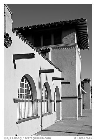 Burlingame train station, in mission revival style. Burlingame,  California, USA (black and white)
