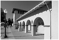 Former Southern Pacific Railroad depot. Burlingame,  California, USA (black and white)