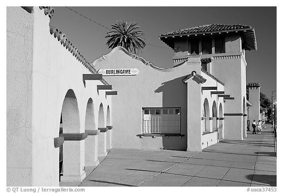 Burlingame railroad station. Burlingame,  California, USA (black and white)