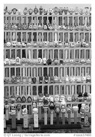 Collection of Pez dispensers, Pez museum. Burlingame,  California, USA (black and white)