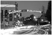 Broadway at dusk with lights from traffic. Burlingame,  California, USA (black and white)