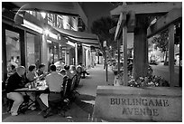 Outdoor dining on Burlingame Avenue. Burlingame,  California, USA (black and white)