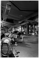 Restaurant terrace on Burlingame Avenue sidewalk. Burlingame,  California, USA (black and white)