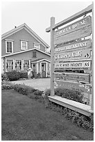 Zabella House and signs. Half Moon Bay, California, USA (black and white)
