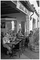 Men sitting at Cafe. Palo Alto,  California, USA (black and white)