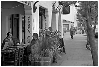 Cafe and sidewalk. Palo Alto,  California, USA ( black and white)