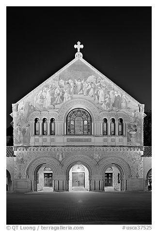 Memorial Church facade at night. Stanford University, California, USA (black and white)