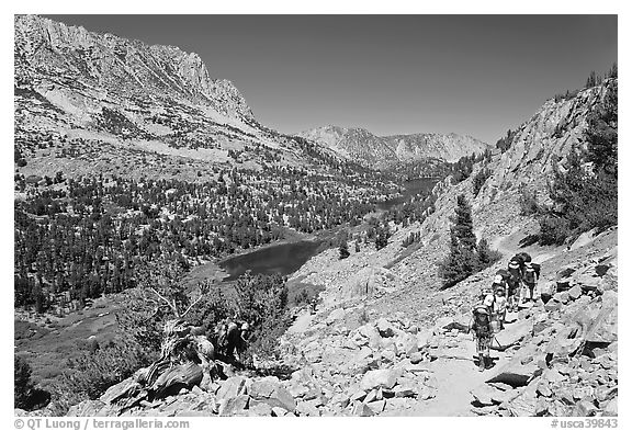 Valley and Long Lake, John Muir Wilderness. California, USA (black and white)