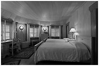 Bedroom, Vikingsholm castle, South Lake Tahoe, California. USA ( black and white)