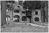 Vikingsholm castle facade, Emerald Bay,  Lake Tahoe, California. USA ( black and white)