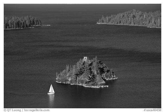 Mouth of Emerald Bay, Fannette Island, and sailboat, Lake Tahoe, California. USA (black and white)
