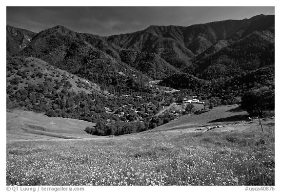 El Portal, nested below hills covered with spring flowers. El Portal, California, USA (black and white)