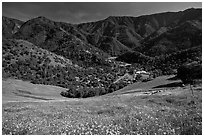 El Portal, nested below hills covered with spring flowers. El Portal, California, USA ( black and white)