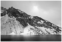 Peak with fresh snow, Ellery Lake. California, USA ( black and white)