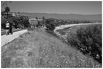 Coastal walkway and beach. Santa Barbara, California, USA (black and white)