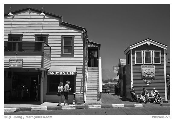 Stores of wharf. Santa Barbara, California, USA (black and white)