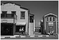 Stores of wharf. Santa Barbara, California, USA ( black and white)