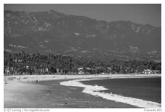 East Beach and mountains. Santa Barbara, California, USA (black and white)