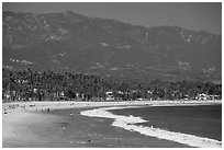 East Beach and mountains. Santa Barbara, California, USA ( black and white)