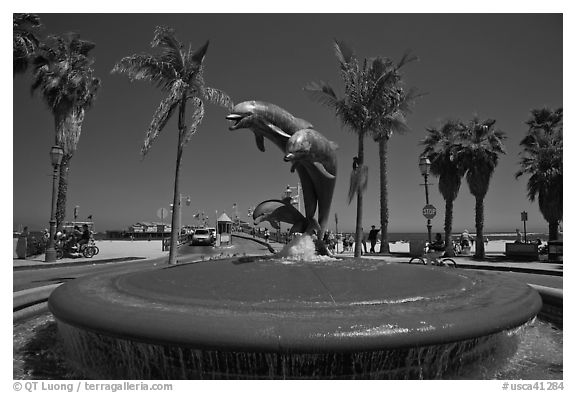 Dolphin fountain and beach. Santa Barbara, California, USA (black and white)