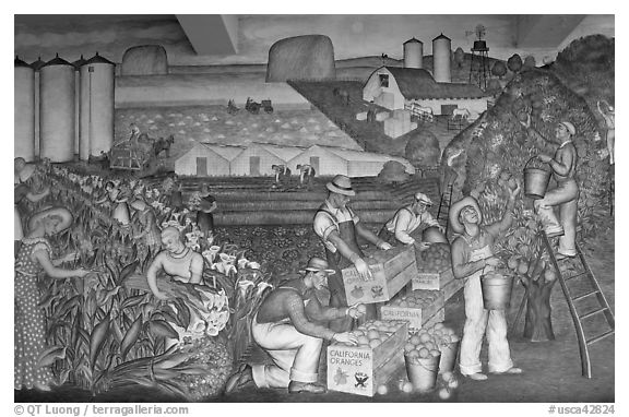 Public Works of Art Project mural, Coit Tower. San Francisco, California, USA (black and white)