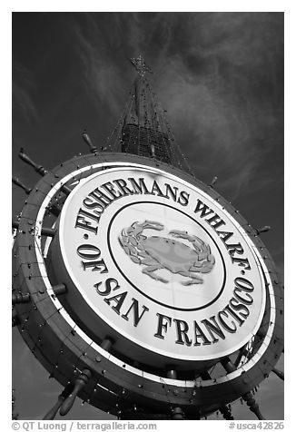 Fishermans Wharf sign against sky. San Francisco, California, USA (black and white)