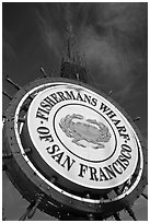 Fishermans Wharf sign against sky. San Francisco, California, USA ( black and white)