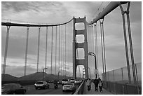 Sidewalk and traffic from the Golden Gate Bridge. San Francisco, California, USA ( black and white)