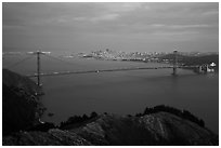 Golden Gate Bridge at dusk. San Francisco, California, USA (black and white)
