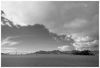 San Francisco Bay, Golden Gate Bridge and Alcatraz. San Francisco, California, USA (black and white)