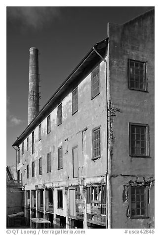 Industrial building, Alcatraz Island. San Francisco, California, USA (black and white)