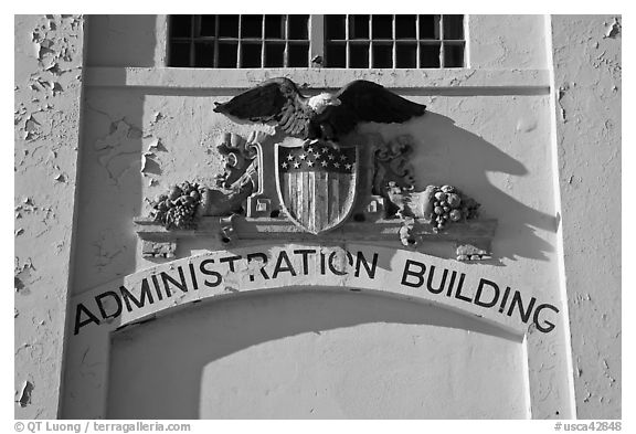 Detail of administration building, Alcatraz. San Francisco, California, USA (black and white)
