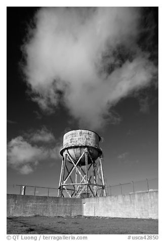 Water tower and cloud, Alcatraz. San Francisco, California, USA (black and white)