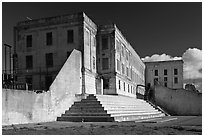Cellhouse building, Alcatraz Penitentiary. San Francisco, California, USA (black and white)