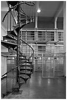 Spiral staircase inside Alcatraz prison. San Francisco, California, USA (black and white)