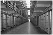 Row of prison cells, main block, Alcatraz prison interior. San Francisco, California, USA (black and white)